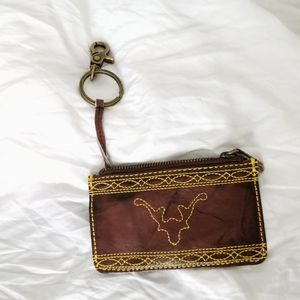 Frye brown leather zip wallet card holder clasp